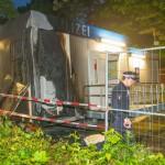 Polizeicontainer angezündet