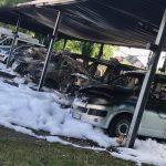 Sechs Polizeitransporter ausgebrannt