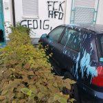 Farbe gegen Wohnhaus und Auto von Dietmar Gedig (AfD)