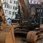 Baustellenbagger ausgebrannt