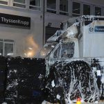 Drei Thyssen Krupp-LKW abgefackelt