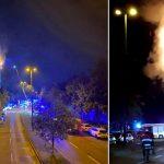 Sendemast in Flammen