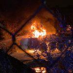 Baukran in Flammen