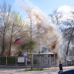 Rauchtöpfe auf Gelände des russischen Konsulats geworfen