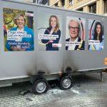 Feuer an CDU-Wahlkampfwagen